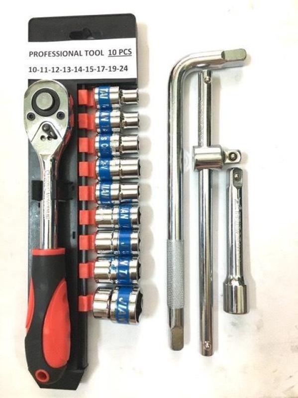 Combo bộ tuýp 1/2 cần tự động 72 răng 10 chi tiết & cần cong & cần trượt & khúc nối 5