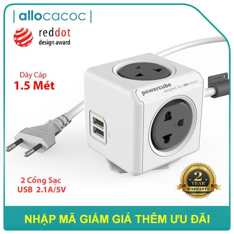 Ổ Cắm Điện Allocacoc PowerCube Extended 2 Sạc USB Dây Cáp 1.5m