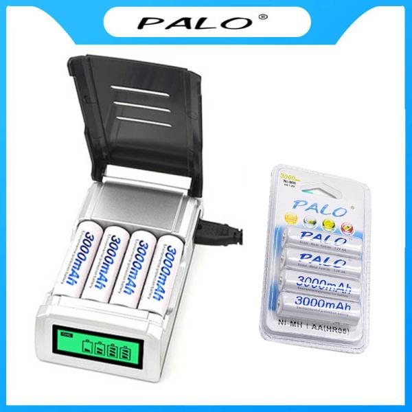 Combo bộ sạc pin AA thông minh và vỉ 4 viên pin AA 3000mAh - PALO (có lựa chọn mua lẻ)