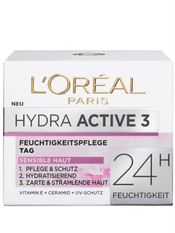 Kem dưỡng da Loreal Hydra Active 3 Tag cho da khô và nhạy cảm ban ngày hộp 50ml nội địa Đức