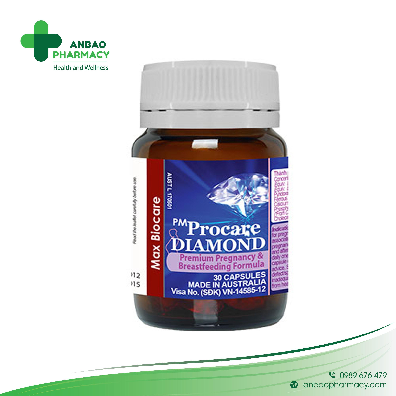 Viên uống cho bà bầu PM Procare Diamond bổ sung Omega 3 (30 viên) chính hãng