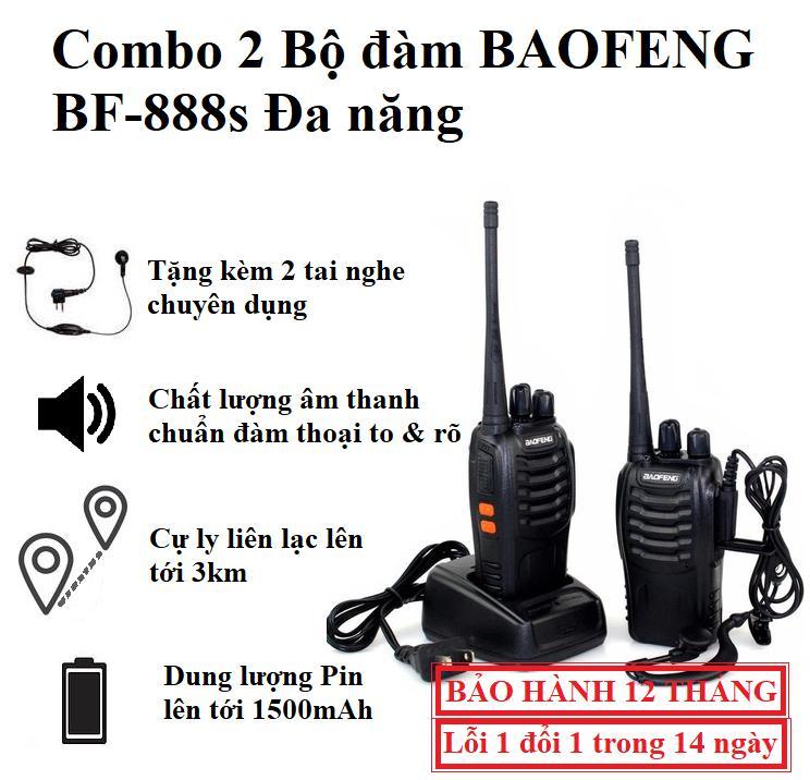 [COMBO] 2 Bộ Đàm 2 Chiều BAOFENG BF-888S - Tặng Kèm 2 Tai Nghe (Full Phụ Kiện)