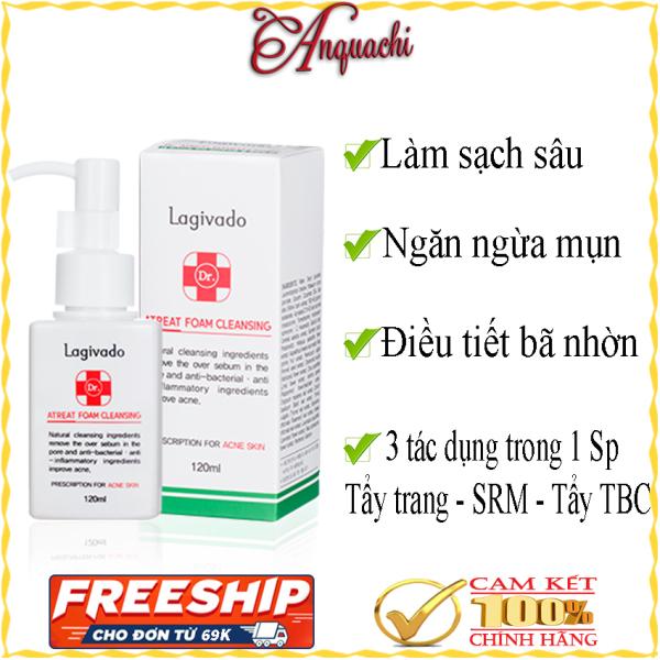 Sữa rửa mặt Lagivado 3 trong 1 Hàn Quốc - Phù hợp với mọi loại da, dùng cho da nhạy cảm, da mụn; kết hợp tẩy trang Lagivado, tẩy tế bào chết Lagivado và sữa rửa mặt - Lagivado Dr. ATreat Foam Cleansing - Anquachi - mỹ phẩm Hàn Quốc
