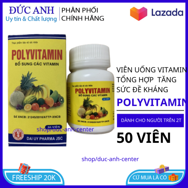 Viên uống vitamin tổng hợp POLYVITAMIN hộp 50 viên bồi bổ cơ thể, tăng cường sức đề kháng, giảm mệt mỏi suy nhược - Chai 50 viên dùng cho người từ 2 tuổi