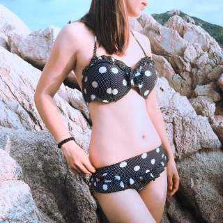 bikini 2 mảnh xanh đen chấm bi trắng thời trang cao cấp XIXO thumbnail