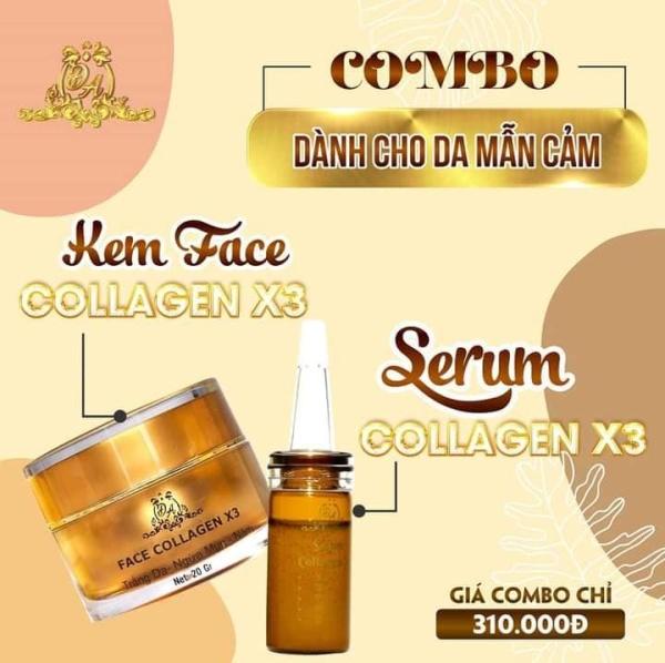 Combo Serum Dưỡng Và Kem Face Collagen X3 nhập khẩu