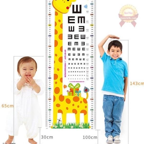 Decal dán tường, thước đo chiều cao trẻ em hình con vật cho bé đáng yêu ngộ nghĩnh