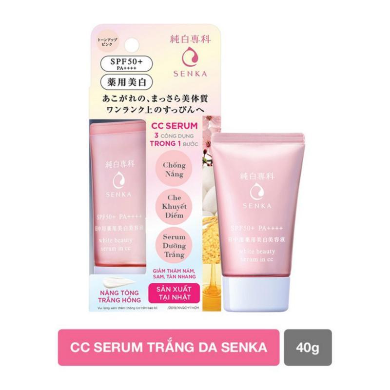 Serum dưỡng trắng da chống nắng Senka White Beauty Serum In CC SPF50+ PA++++ 40g (hồng,code 15838) nhập khẩu