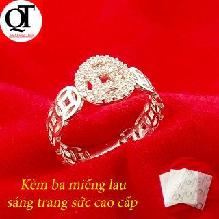 Nhẫn nữ Bạc Quang Thản, nhẫn nữ kim tiền mặt chữ vạn gắn đá cobic chất liệu bạc thật không xi mạ có thể chỉnh size tay yêu cầu, thích hợp đeo tại các buối dạ tiệc, sinh nhật, làm quà tặng QTNU38 thumbnail