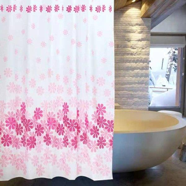 Màn treo nhà tắm bông hò̀ng 1m8  x 1m8 ( hàng tốt)