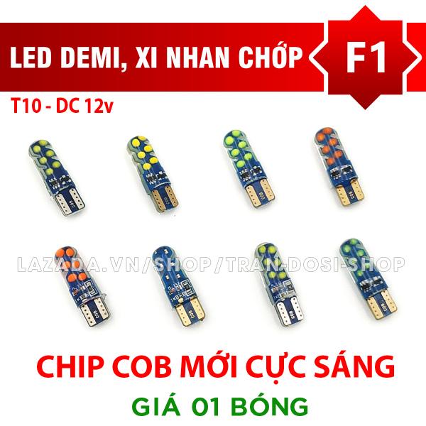 01 bóng LED T10 COB chớp F1 cho demi, xi nhan cực sáng DC12v