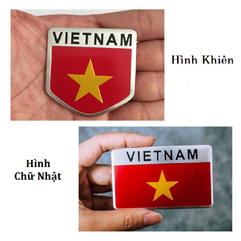 Logo Tem kim loại cờ Việt Nam - hình chữ nhật