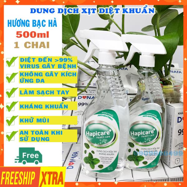 Nước rửa tay kháng khuẩn nhanh khô [HÀNG CHÍNH HÃNG] nước sát khuẩn tay y tế dạng xịt Hapicare 500ml Hương bạc hà