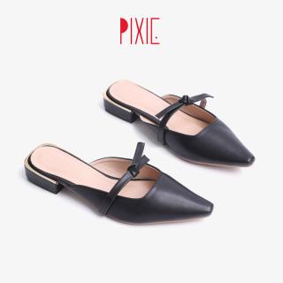 Giày Sục 3cm Mũi Nhọn Nơ Thắt Pixie X674 thumbnail