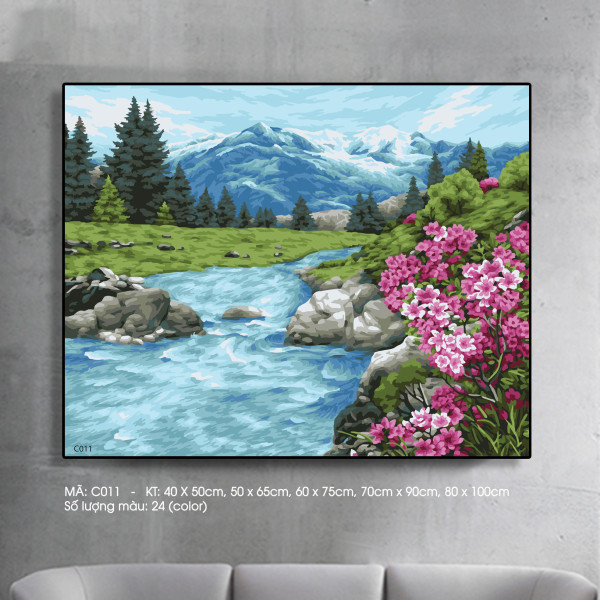 Tranh sơn dầu số hóa phong cảnh hoa bên suối Mã C011 - Kích thước 40x50cm