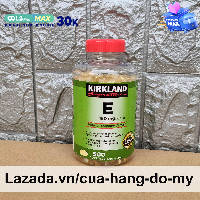 Vitamin E Kirkland 400 IU Mẫu Mới Nhất - 500 Viên - Vitamin E của Mỹ giúp sáng da, mịn màng.
