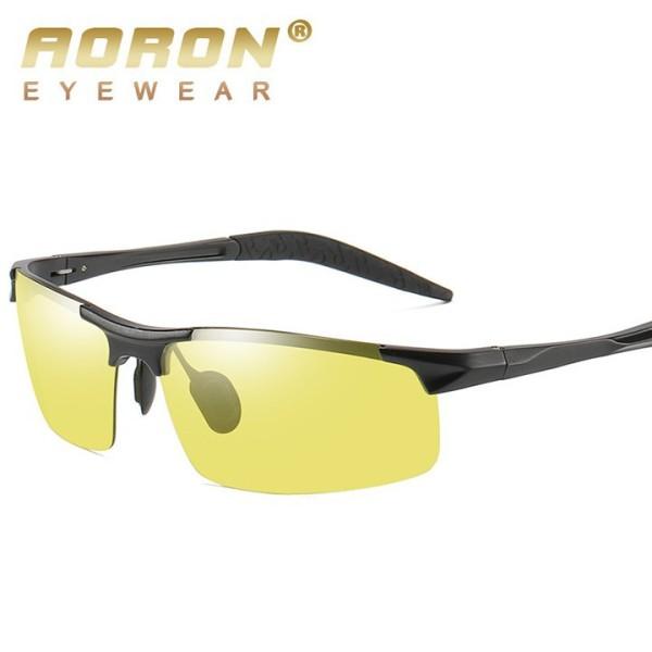 Giá bán Kính nam, Mắt kính Nam đổi màu đi ngày đêm chính hãng Aoron A3043, gọng nhôm meggie siêu nhẹ, mắt phân cực chống UV 400, kính mắt nam nữ