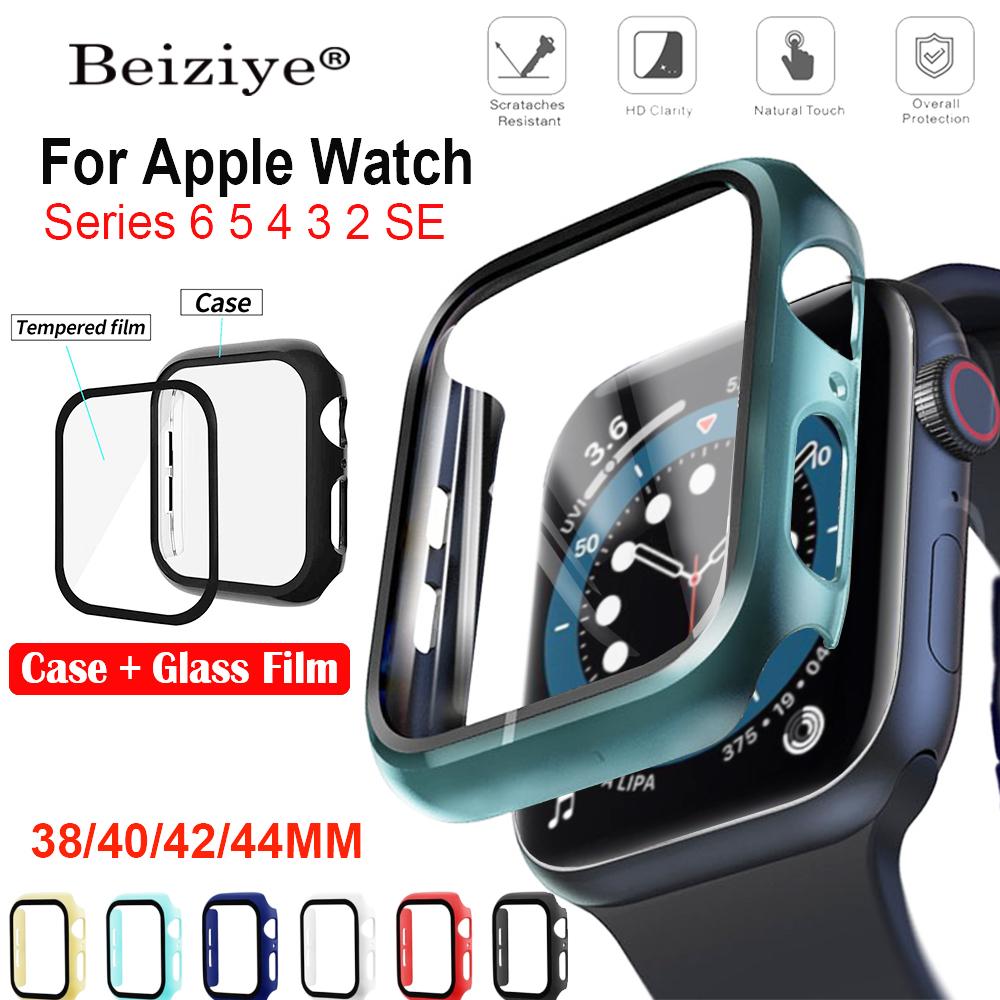 Vỏ màu mới + Phim kính cường lực cho apple watch 6 SE 5 4 44mm/40mm i Watch 3 2 1 38mm 42mm Đồng hồ thông minh Bảo vệ màn hình Bảo vệ ốp lưng cho đồng hồ quả táo series 6 5 4 3 2 SE Bảo vệ màn hình