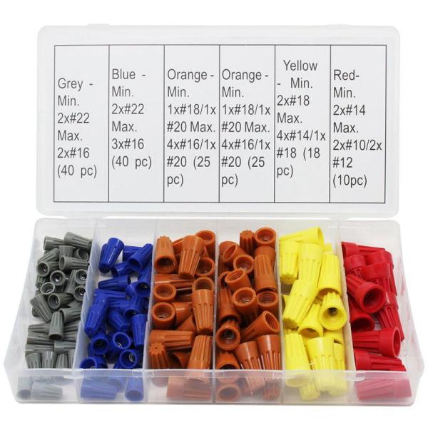 158Pcs 5 Colors Electrical Wire Connector Twist-On Screw Terminal Spring Inserted Nuts Caps Assortment Set