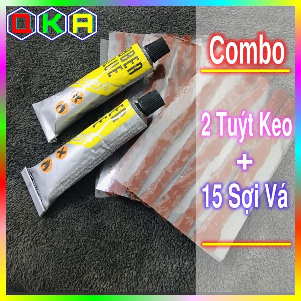 【QKA】Bộ 15 sợi vá lốp xe máy ô tô và 2 tuýt keo vá lốp không săm tiện dụng