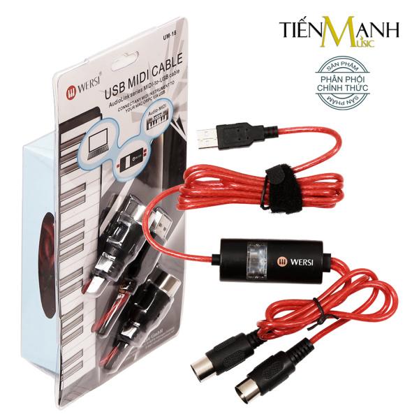 Dây Cáp Midi to USB Cable Cao Cấp Cho Organ, Keyboard  WERSI UM-18 (Kết nối truyền tín hiệu, âm thanh sang Computer, Laptop, PC, Smartphone - Hoặc từ Midi sang Midi)