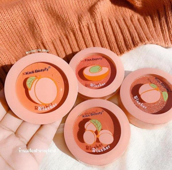 Má hồng Đào KISS BEAUTY kèm gương và cọ tiện lợi, Má hồng trang điểm dạng phấn tone màu siêu xinh, cực tiện lợi giá rẻ