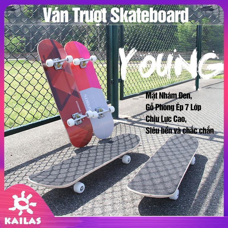 Giá bán Ván Trượt Skateboard Mặt Nhám Đen, Gỗ Phong Ép 7 Lớp, Chịu Được Trọng Tải Tới 60kg, Ván Trượt Người Lớn- Kailas