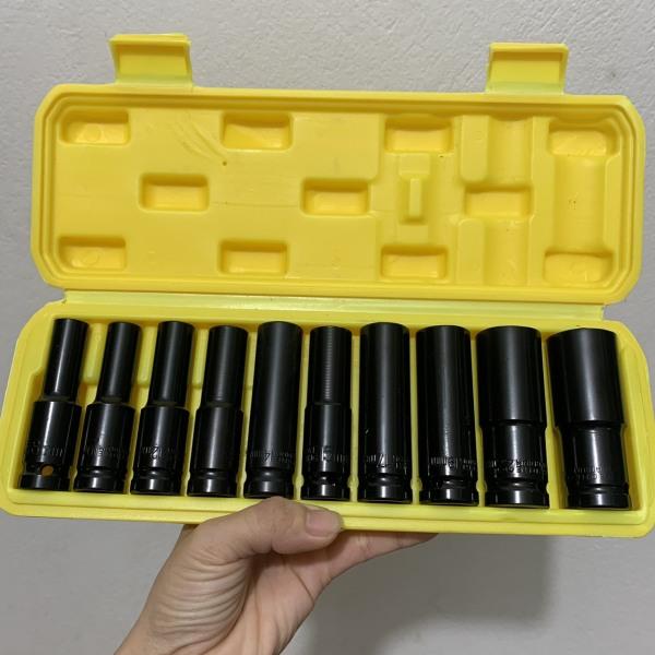 Hộp 10 Đầu Khẩu 1/2 8-24mm Dài 78mm Vặn Bulong , Đầu Bulong, Đầu Tiếp, Đầu Điếu Mạ Crôm