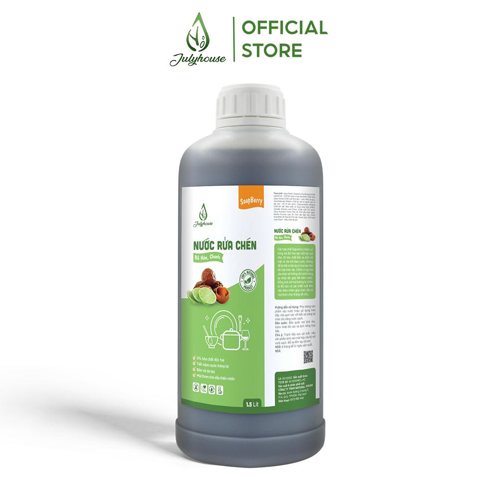 Nước rửa chén tự nhiên chiết xuất từ trái Bồ Hòn và tinh dầu Chanh Nguyên Chất 1500ml JULYHOUSE