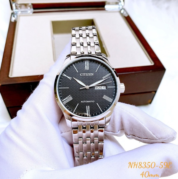 Đồng hồ Nam Citizen Automatic NH8350-59E Size 40mm,Mặt đen,Lịch thứ ngày-Máy cơ tự động-Dây kim loại thép cao cấp
