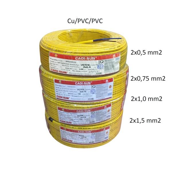 10m Dây điện đôi dẹt mềm 2x0,5 2x0,75 2x1,0 2x1,5 mm2 Cu/PVC/PVC bọc ovan mềm Cadisun W0-2x
