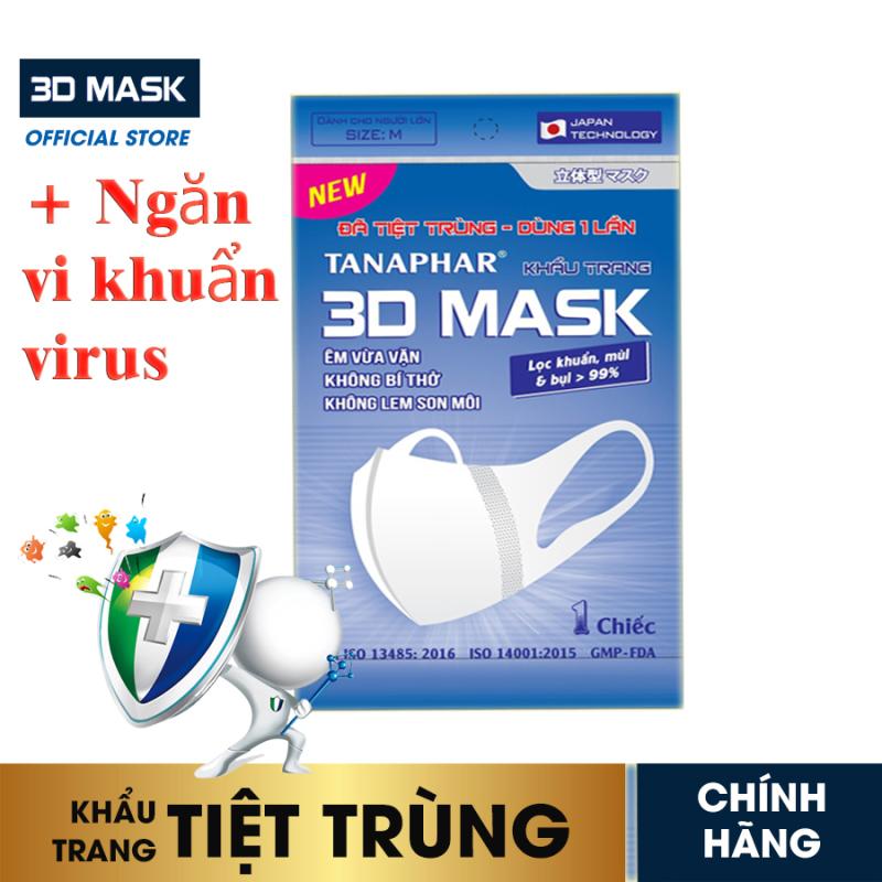 Khẩu trang y tế 3D mask Tanaphar người lớn - Túi 1 chiếc - đã tiệt trùng với thiết kế 3D cấu trúc đa lớp ngăn khói bụi, ngăn vi khuẩn virus bảo vệ sức khỏe, thiết kế ôm khít khuôn mặt mà không ảnh hưởng khí thở khi sử dụng