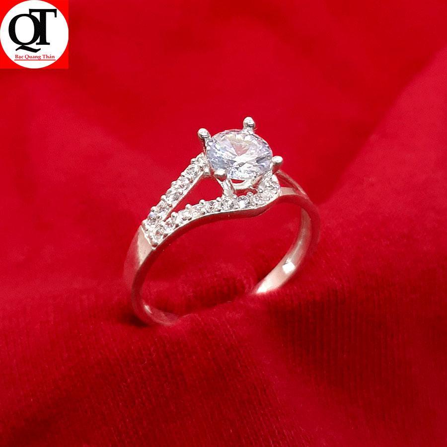 Nhẫn nữ Bạc Quang Thản, nhẫn nữ ổ cao gắn đá kim cương nhân tạo size 5,5 ly chất liệu bạc ta không xi mạ phong cách thời trang có thể chỉnh size tay yêu cầu, thích hợp đeo thời trang, làm quà tặng –QTNU10