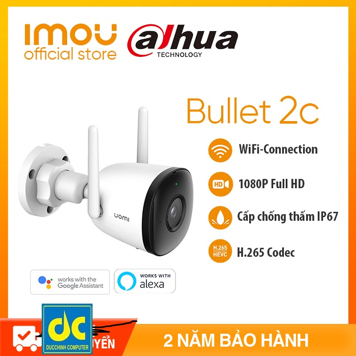 DAHUA CAMERA IPC WIFI IMOU F22 - NGOÀI TRỜI FULL HD 1080P -Tầm nhìn ban đêm-Angten đôi và MIMO - Chống nước IP67 - Bảo hành chính hãng2 năm