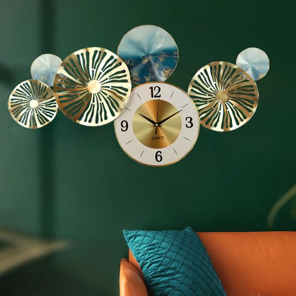 Nơi bán Đồng Hồ Phù Điêu lá đồng nghệ thuật - Đồng hồ treo tường hình tròn decor trang trí phòng khách, phòng ngủ, spa - Quà Tân Gia