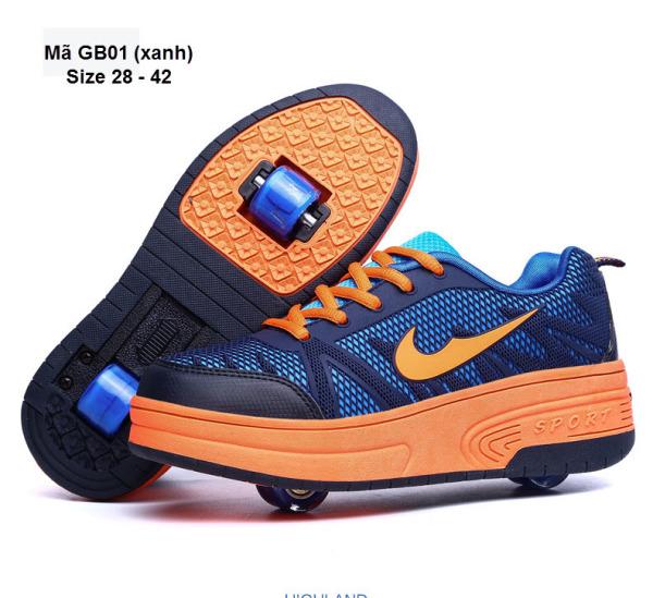 Giày bánh gót cho bé - Giày thể thao bánh xe bé trai - giày trượt 2 bánh gót cho bé trai GB01