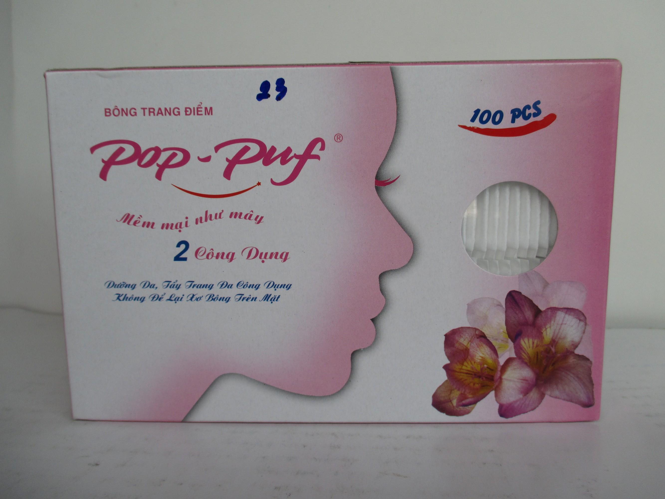 1 hộp bông trang điểm Pop-Puf  2 công dụng (100 Miếng/1 Hộp)