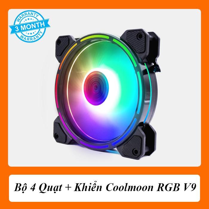 [Combo 4 Fan + Khiển] Quạt Coolmoon RGB V9