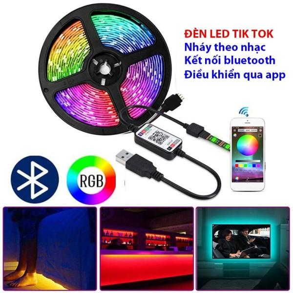 Bảng giá Bộ đèn led dây dán 5m đổi nhiều màu nháy theo nhạc, led dây dán 5m silicon 5050 RGB chống nước ip 65 có remote điều khiển 44 phím cảm biến âm thanh, Dải đèn led 7 màu cảm ứng nhạc, đèn led RGB nháy theo nhạc, đèn nháy nhiều màu