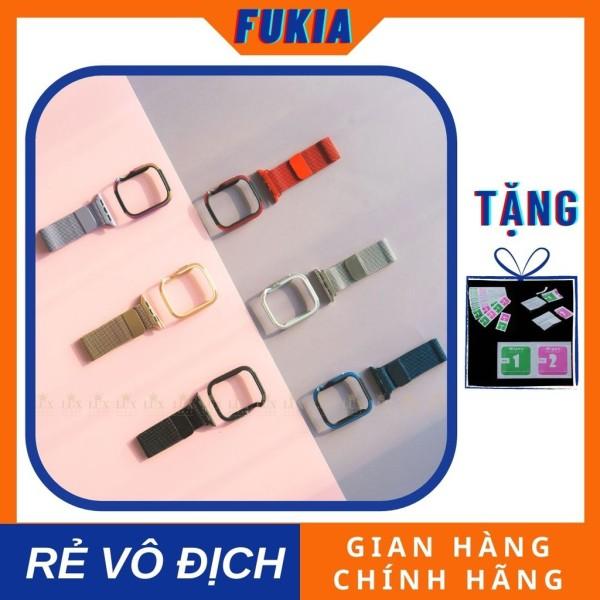 Combo dây thép và ốp viền thép dành cho Apple Watch đồng hồ thông minh Series 1/2/3/4/5/6/SE size 38/40/42/44 mm