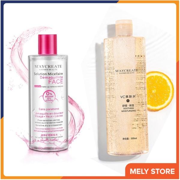 Combo nước tẩy trang + nước hoa hồng: Nước tẩy trang MayCreate 300ml + Nước hoa hồng dưỡng ẩm trắng da MayCreate 500ml Melystore SPU165