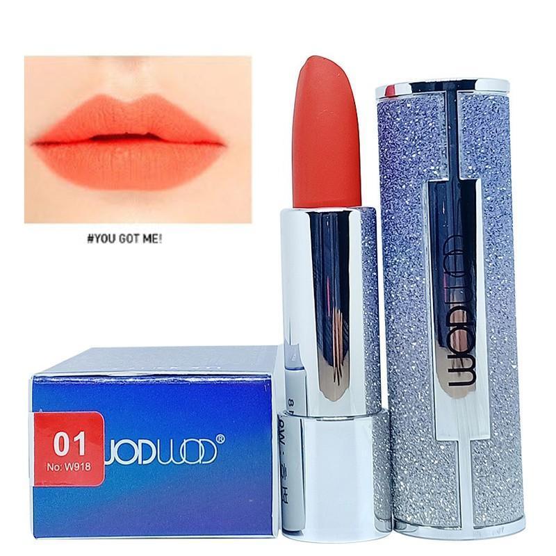 Son môi dưỡng ẩm bền màu Wodwod Lipstick Hàn Quốc 3.8g #01 Đỏ Cam dạng bấm đính đá cực đẹp cao cấp