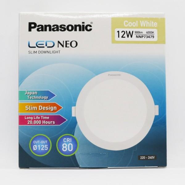 Combo 4 Đèn LED âm trần Panasonic 12W tròn NNP73478 Neo Slim ánh sáng trung tính 4000K