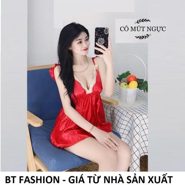 Đồ Bộ Mặc Nhà Vải Phi Bóng Mềm Mát - BT Fashion (Phi- Mút Ngực HD1) - Hình, Video Thật