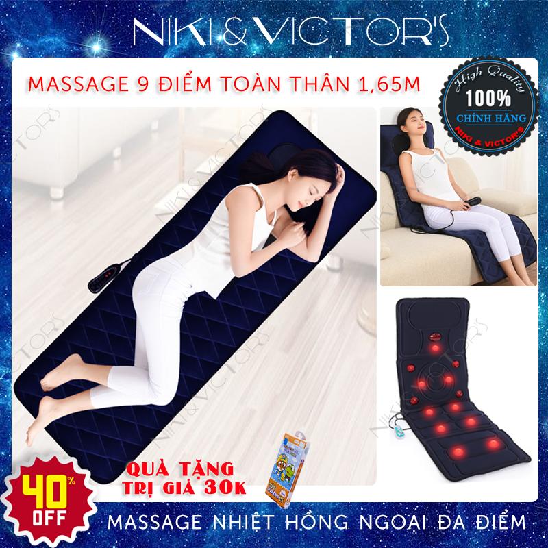 Nệm massage 9 điểm nhiệt hồng ngoại 1.65m toàn thân cao cấp