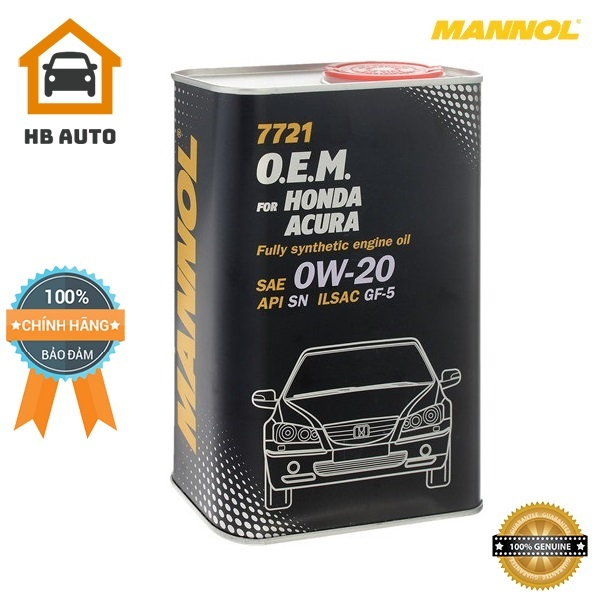 [Cao Cấp] Nhớt MANNOL 7721 O.E.M Cho Xe Honda; Acura 0W-20 SN/CF – 4 Lít, Hàng Đức Chính Hãng