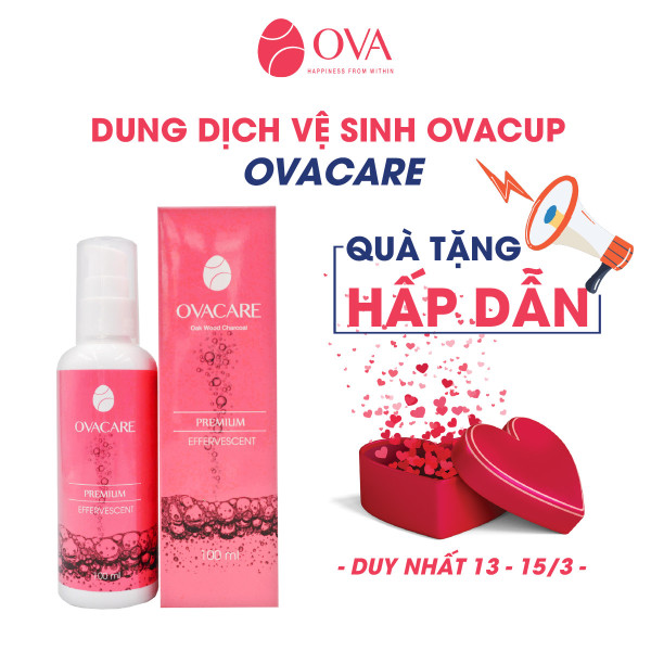 Dung dịch vệ sinh cốc nguyệt san OvaCare chứa than hoạt tính giúp ngăn ngừa vi khuẩn, tiệt trùng, khử mùi (150ml)