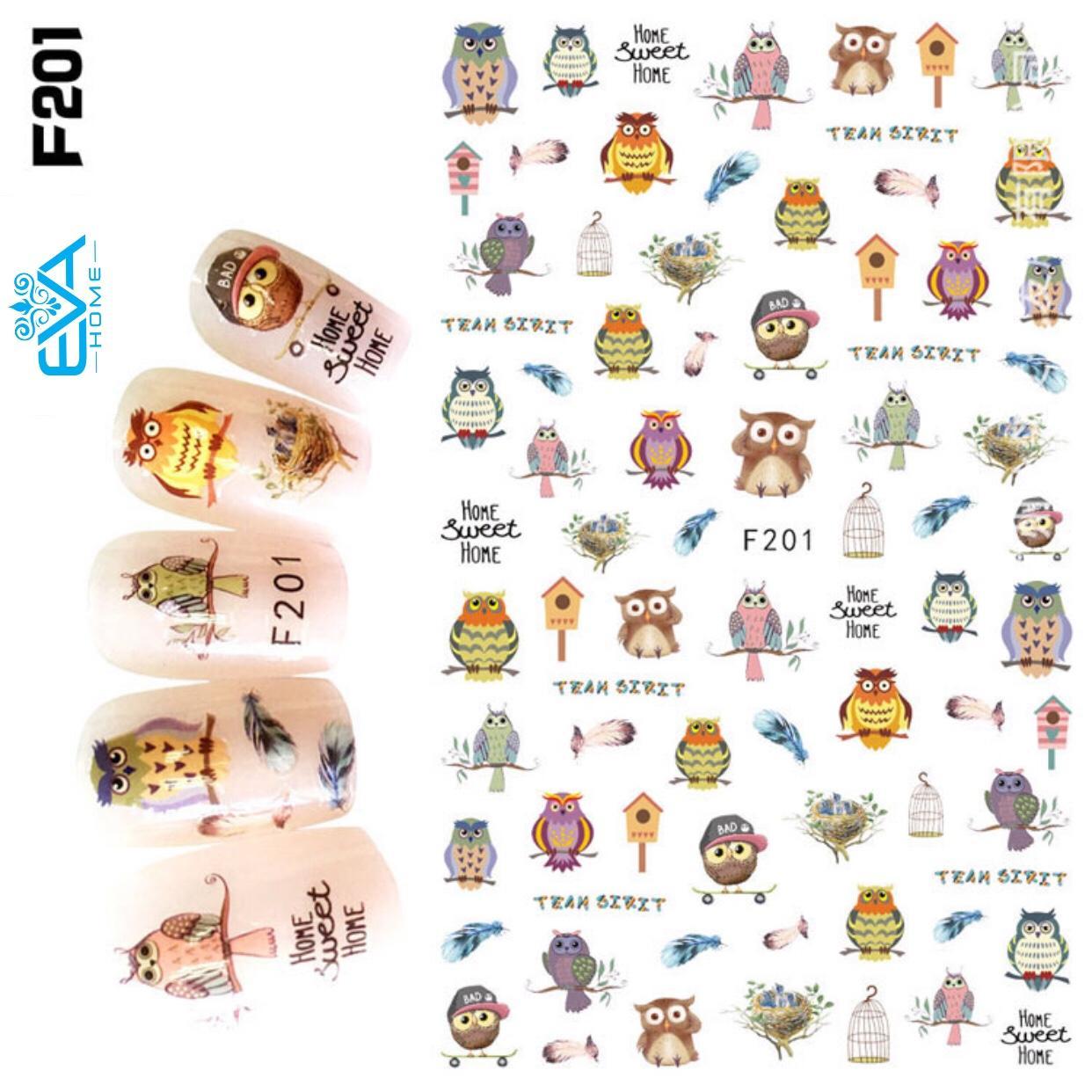 Miếng Dán Móng Tay 3D Nail Sticker Tráng Trí Hoạt Hình F201 tốt nhất