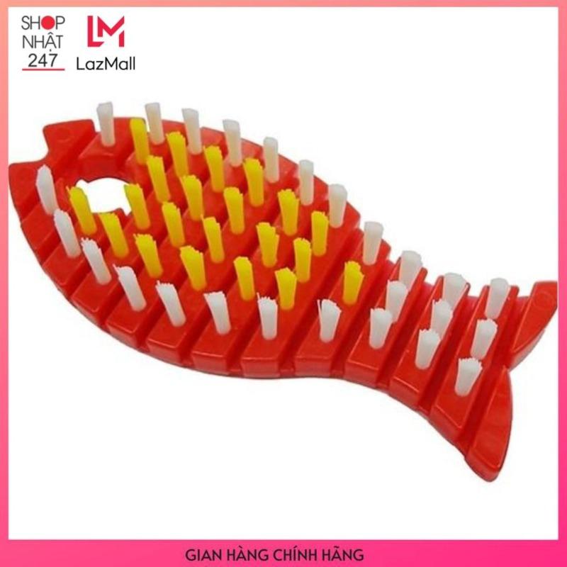 Bàn chải uốn cong hình con cá Màu Đỏ - Nội Địa Nhật Bản