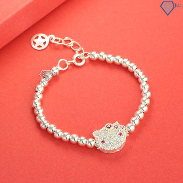 Giá bán Lắc tay bạc cho bé gái hình Hello Kitty đính đá LTT0032 - Trang Sức TNJ